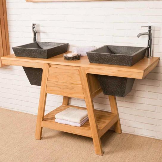 meuble salle de bain teck et vasque terrazo khéops 140