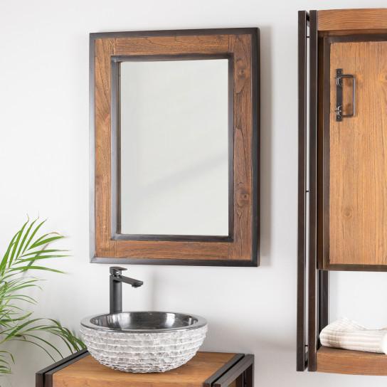 miroir de salle de bain l gance bois m tal 60x80. Black Bedroom Furniture Sets. Home Design Ideas
