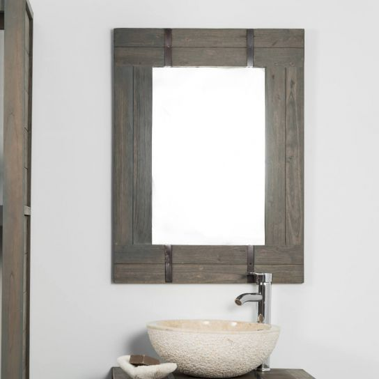 Miroir de salle de bain loft 60x80 gris for Miroir bois salle de bain