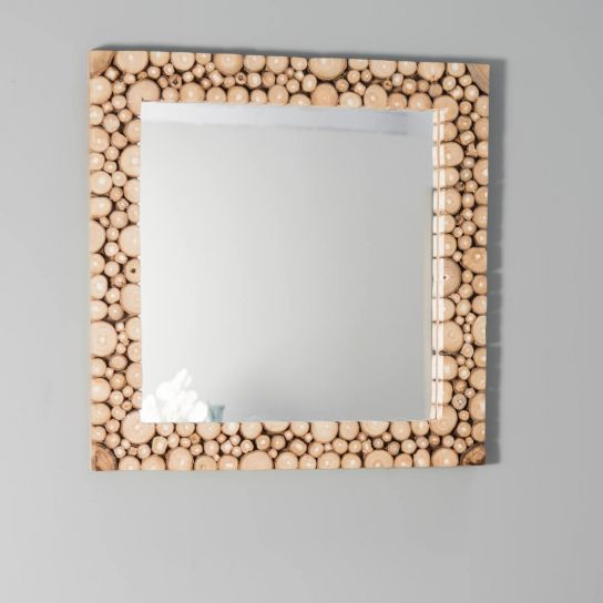 Miroir de d coration en bois massif rondins carr for Miroir 50 x 60