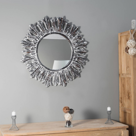 miroir de d coration en bois massif soleil rond bois patin argent d 90 cm. Black Bedroom Furniture Sets. Home Design Ideas