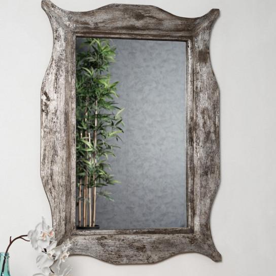 Modern bronze-coloured weathered-finish wood mirror 70 x 100 cm