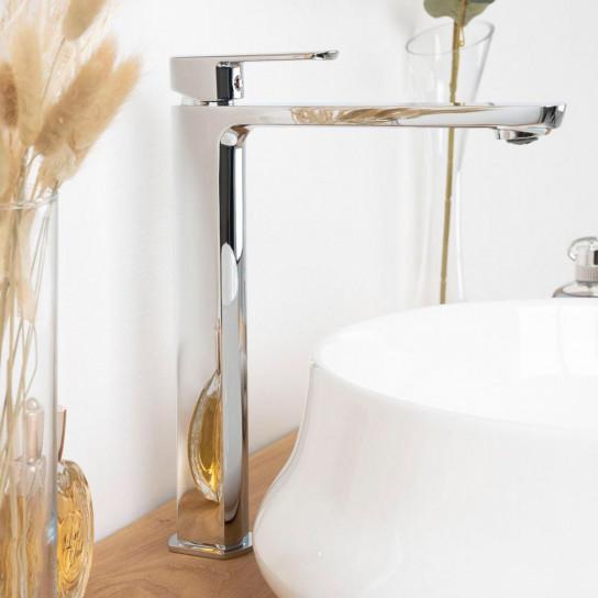 Monomando alto para lavabo sobre encimera Louga cromado