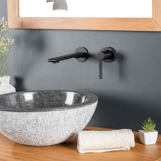 Monomando de pared para lavabo Tamisa negro