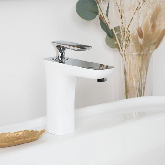 Monomando para lavabo Glomma blanco y cromado