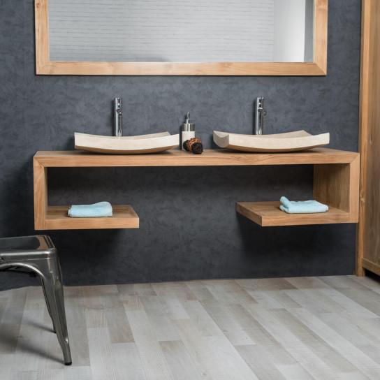 Mueble para lavabo (doble) de madera (teca) maciza: Puro, rectángulo ...