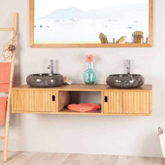 Mya teak bathroom double-sink wall-mounted vanity unit 145 cm