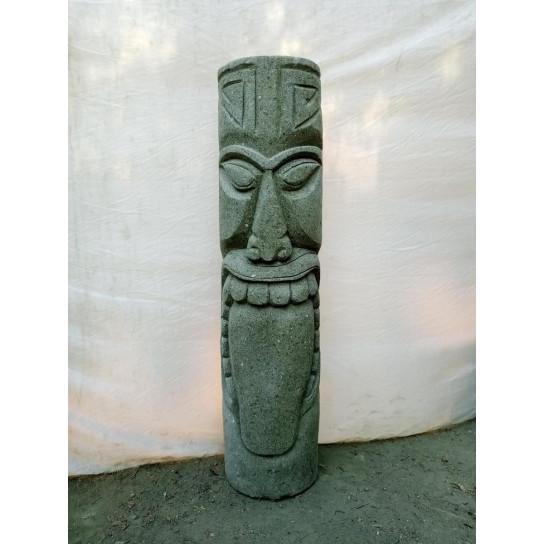 Oceanian tiki volcanic rock garden statue 1 m