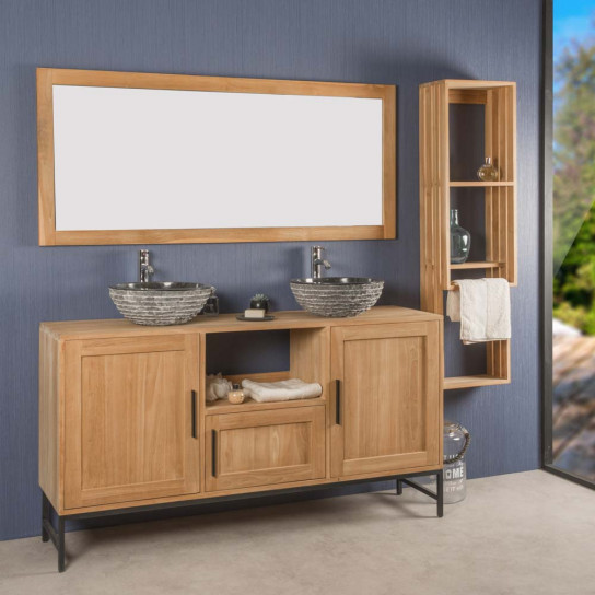 Pablo teak bathroom vanity unit 160