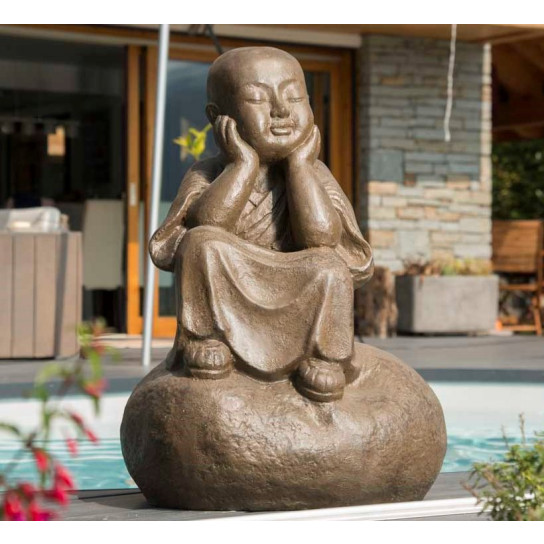 Pensive brown Shaolin monk statue