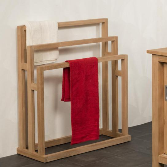 Porte serviette en teck à poser 3 barres