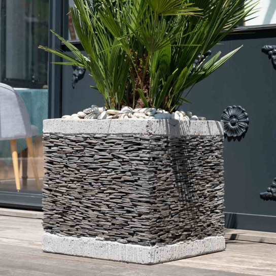 Pot bac jardinière carré cube ardoise 50cm jardin terasse pierre naturelle