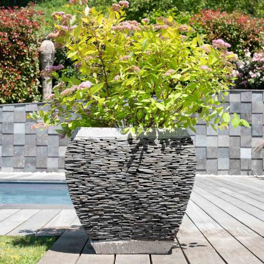Pot bac jardinière galbé ardoise 50cm jardin pierre naturelle
