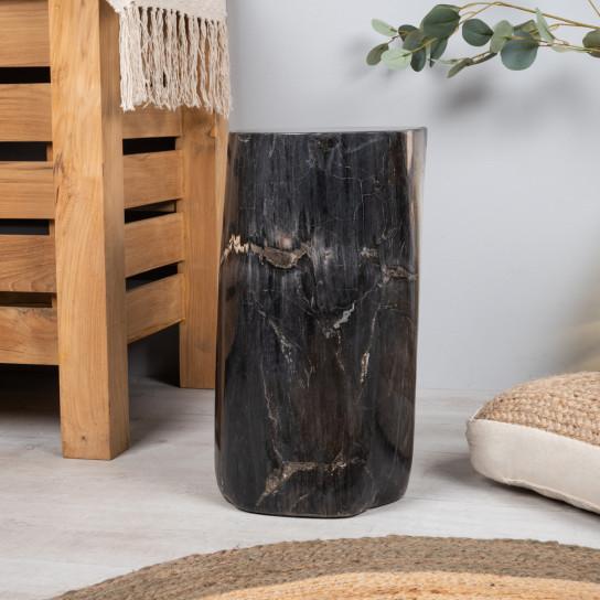 Pouf en bois fossilisé