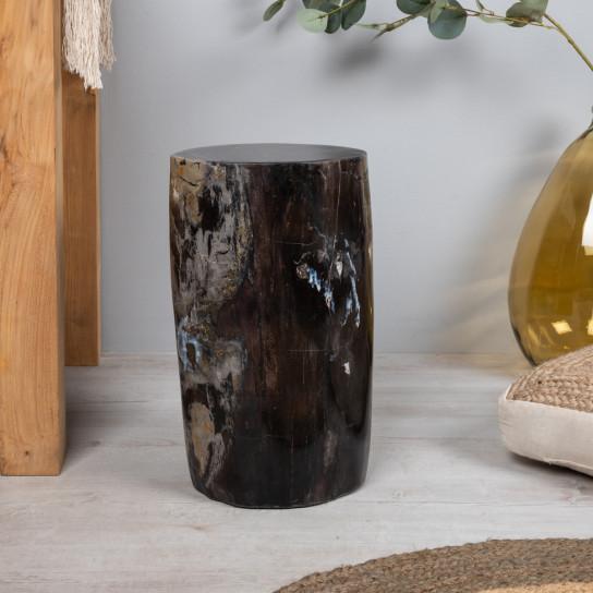 Pouf en bois pétrifié fossilisé