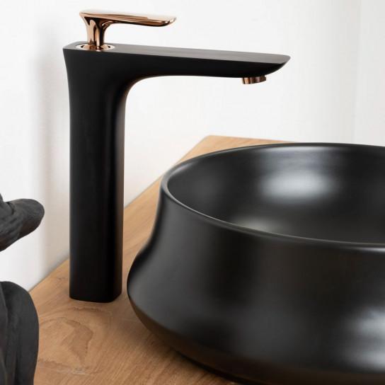 Robinet mitigeur pour vasque à poser Glomma noir et or rose