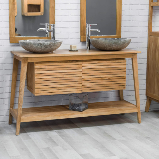 Scandinavian teak bathroom vanity unit 140