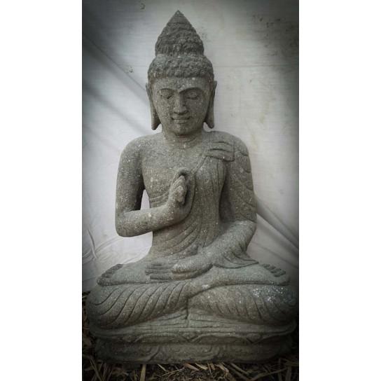 Sculpture de Bouddha assis en pierre volcanique position Chakra 80cm