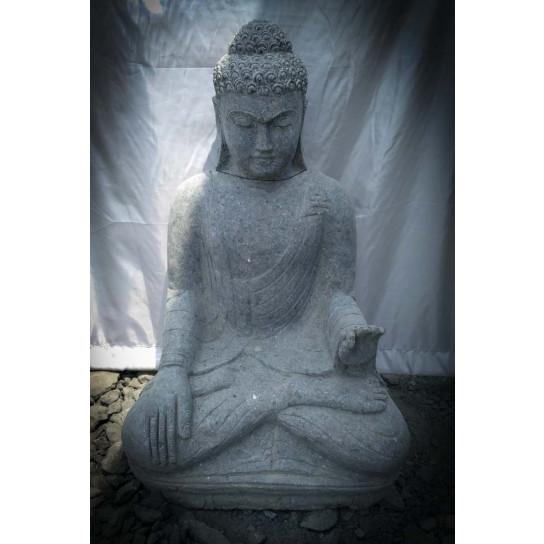 Sculpture de Bouddha assis en pierre volcanique position Chakra zen 80cm