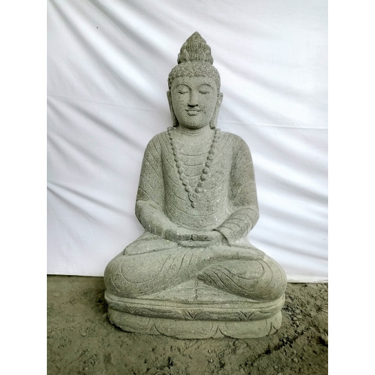 Sculpture de jardin en pierre volcanique de Bouddha collier 1m