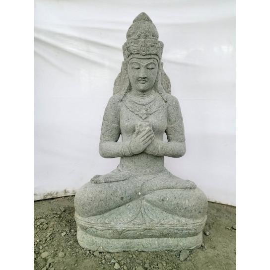 Seated balinese goddess volcanic rock outdoor statue flower 120 cm