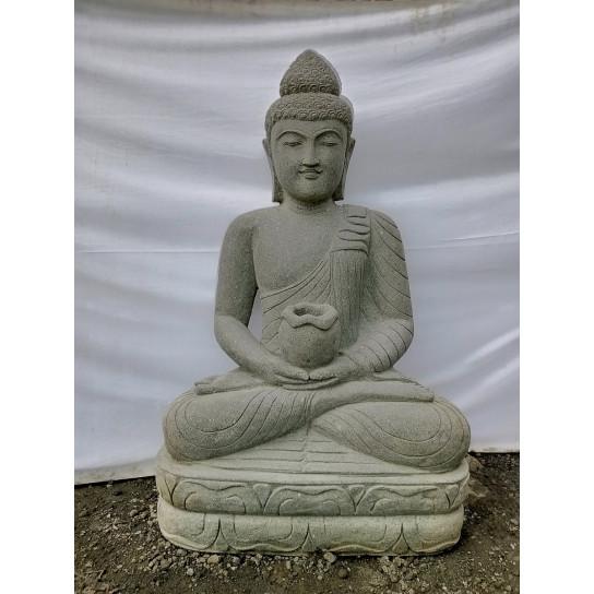 Seated Buddha volcanic rock garden statue bowl 120 cm