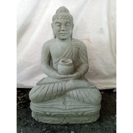 SEATED BUDDHA VOLCANIC ROCK GARDEN STATUE OFFERING POSE BOWL 50 CM