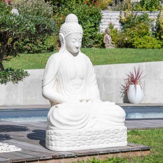 Seated Buddha white fibreglass garden statue chakra pose 150 cm