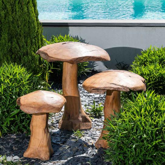 Set champignons en teck deco jardin