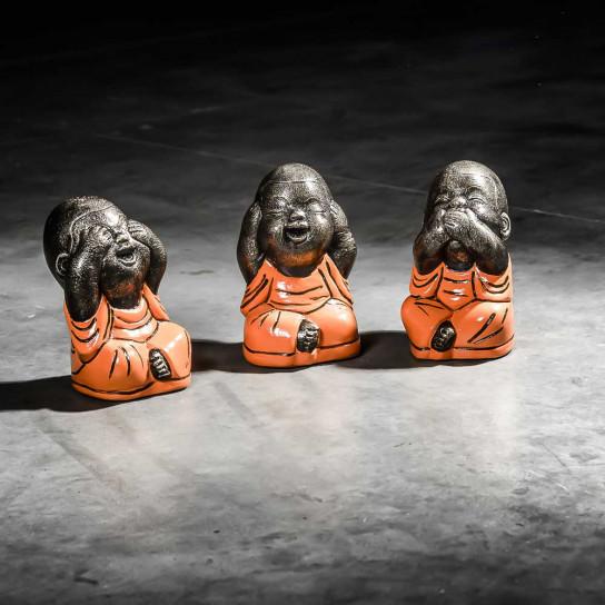 Set moines de la sagesse petit modèle Orange 18 cm