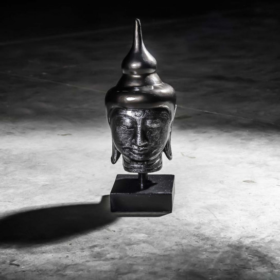 Small black Buddha head - 40 cm