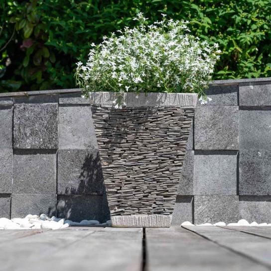 Square natural slate terrace garden planter 50 cm tall 40 cm diameter
