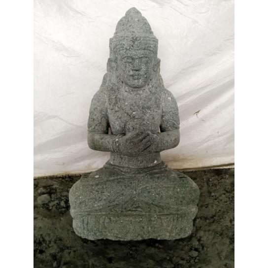 Statue déesse balinaise dewi fleur en pierre de lave 50cm
