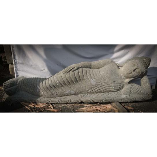 Statue Bouddha allongé en pierre massive volcanique 1m55