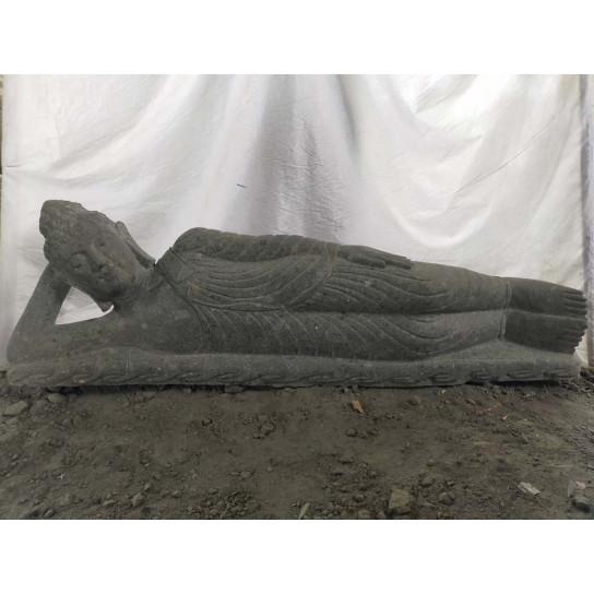 Statue Bouddha allongé en pierre massive volcanique extérieur zen 1m50
