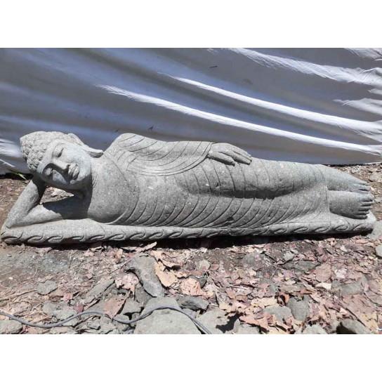 Statue Bouddha allongé en pierre volcanique 1m55