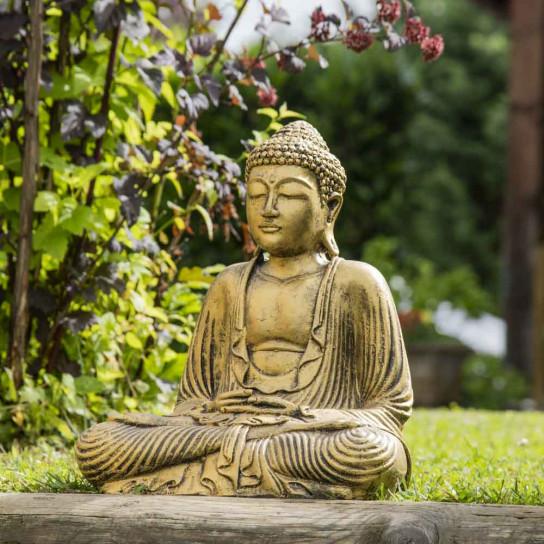 Statue bouddha assis position offrande doré 42 cm