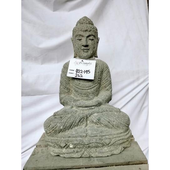 Statue d'extérieur zen Bouddha pierre volcanique position offrande 50 cm