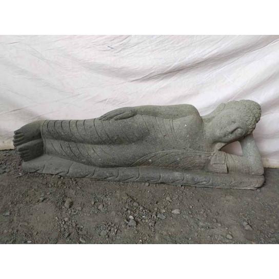 Statue de Bouddha allongée zen en pierre volcanique 1 m
