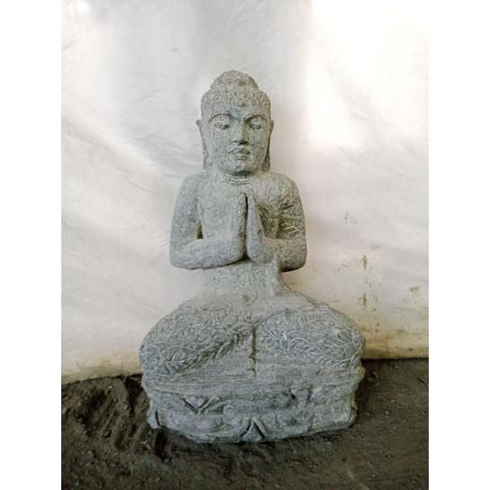 Statue de Bouddha assis en pierre naturelle position Prière 50 cm