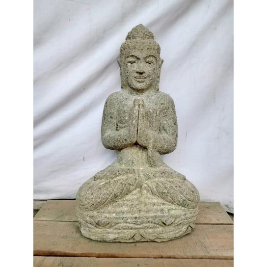 Statue de Bouddha assis en pierre position Prière 50 cm
