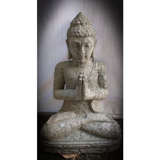 Statue zen Bouddha assis pierre volcanique position Prière 50 cm