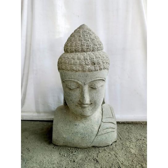 statue de Bouddha buste en pierre volcanique 70 cm