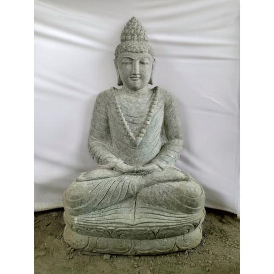 Statue de Bouddha en pierre jardin zen position offrande 1,20 m