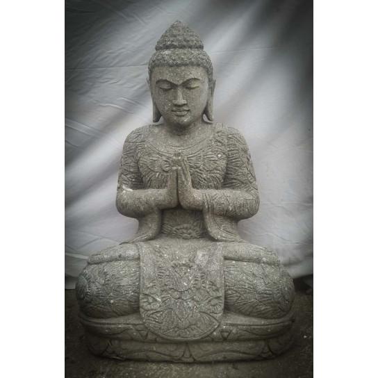 statue de bouddha en pierre naturelle de jardin position pri re 80cm. Black Bedroom Furniture Sets. Home Design Ideas