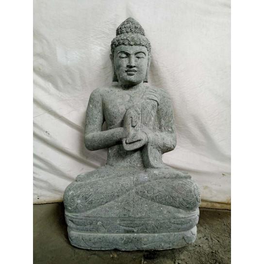 Statue de Bouddha jardin zen en pierre volcanique position Chakra 1,20 m