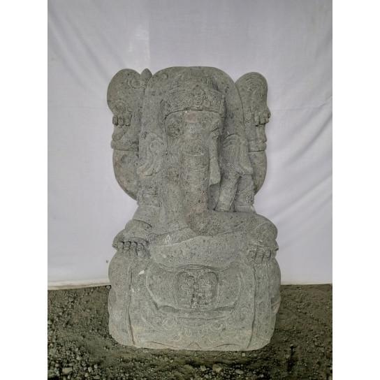 Statue de GANESH en pierre volcanique jardin zen 80 cm