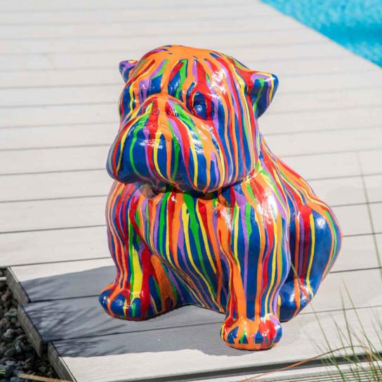 statue chien bouledogue trash