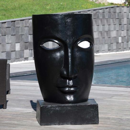 Statue de jardin design visage noir 120cm