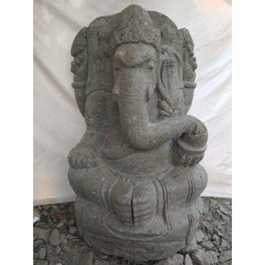 Statue de jardin en pierre volcanique GANESH 90 cm